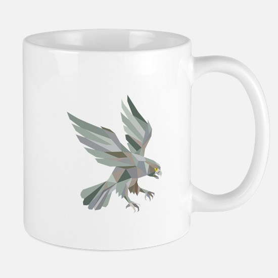 Peregrine Falcon Swooping Grey Low Polygon Mugs