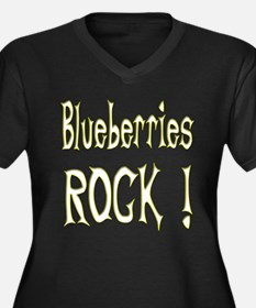 Blueberries Rock ! Women's Plus Size V-Neck Dark T
