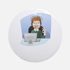 Cartoon Call Center Support Charact Round Ornament