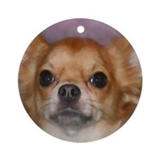 Long Coat Chihuahua Ornament (Round)