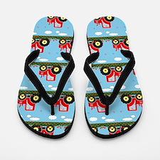 Toy tractor pattern Flip Flops