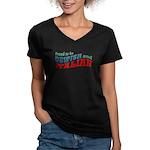 Jewish Italian Women's V-Neck Dark T-Shirt