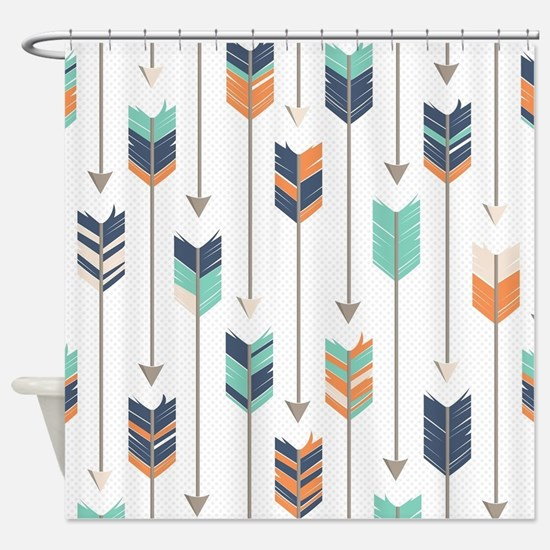 Tribal Arrows Pattern - Navy Orange Shower Curtain