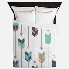 Tribal Arrows Pattern - Navy Orange an Queen Duvet