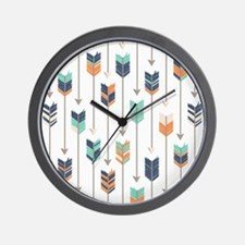 Tribal Arrows Pattern - Navy Orange and Wall Clock