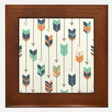 Tribal Arrows Pattern - Navy Orange an Framed Tile
