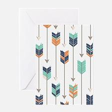Tribal Arrows Pattern - Navy Orange Greeting Card