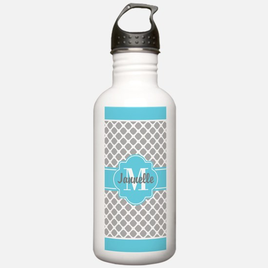 Gray Aqua Girly Cute M Sports Water Bottle