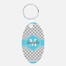 Gray Aqua Girly Cute Monogr Keychains