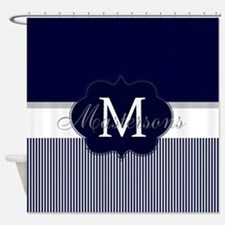 Elegant Monogram in Navy and White Shower Curtain