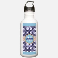 Navy and Mint Dots Wav Water Bottle