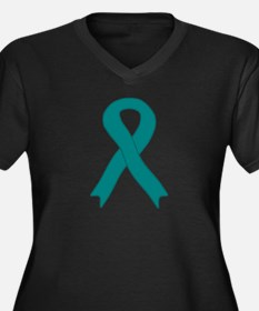 Teal Ribbon Women's Plus Size V-Neck Dark T-Shirt