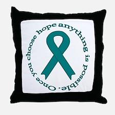Teal Hope Throw Pillow