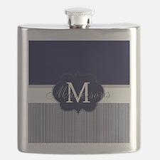 Elegant Monogram in Navy and White Flask