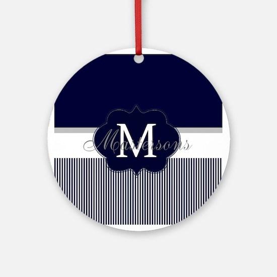 Elegant Monogram in Navy and White Round Ornament