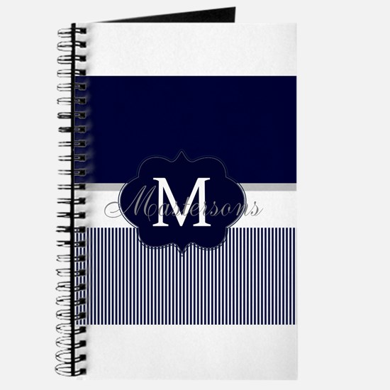 Elegant Monogram in Navy and White Journal