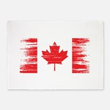 Distressed Canadian Flag 5'x7'Area Rug
