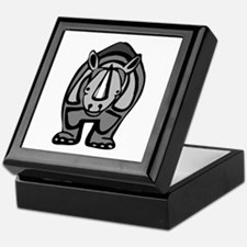 Black rhinoceros front profile Keepsake Box