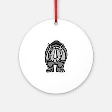 Black rhinoceros front profile Round Ornament
