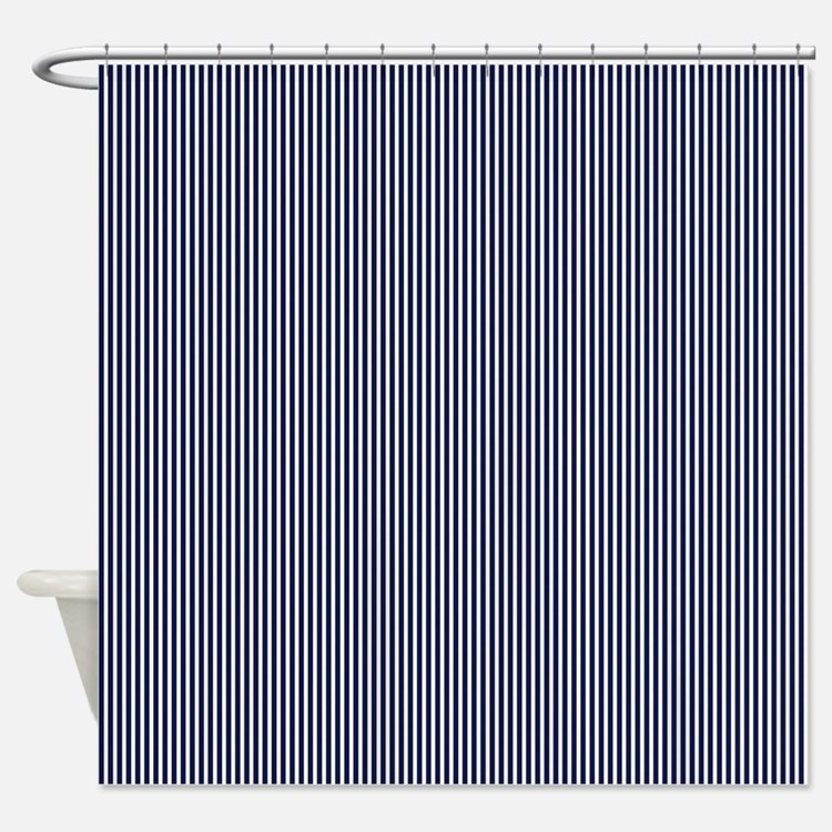 Navy Blue and White Stripes Shower Curtain