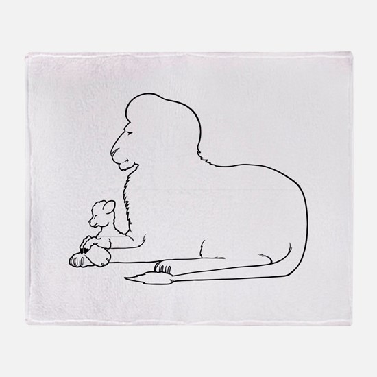 Lion and Lamb Frame Throw Blanket