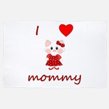 I Love Mommy (kitty-Red) 4' X 6' Rug