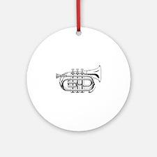 Pocket trumpet b flat b and w Round Ornament
