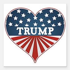 "Heart Trump Square Car Magnet 3"" x 3"""