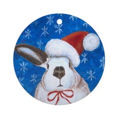 Santa Rabbit Ornament (Round)