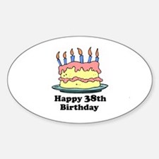 Happy 38th Birthday Oval Decal