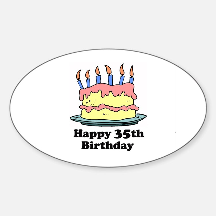 Happy 35th Birthday Oval Decal