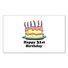 Happy 31st Birthday Rectangle Decal