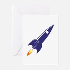Blue rocket Greeting Cards