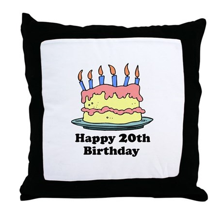 Happy 20th Birthday Throw Pillow By Screamscreens