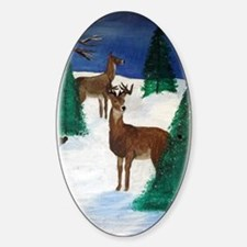 doe and buck snow Decal