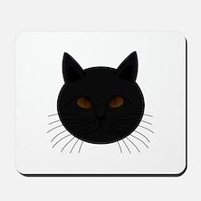 Black Cat Face Mousepad