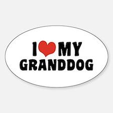 I Love My Granddog Sticker (Oval)