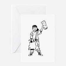 Paperboy delivering newspaper Greeting Cards