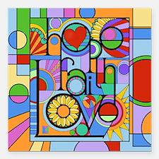 "Hope, Faith, Love Square Car Magnet 3"" x 3"""