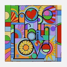 Hope, Faith, Love Tile Coaster