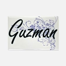 Guzman surname artistic design with Flower Magnets