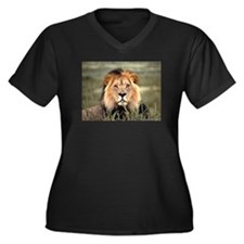 Male African lion Women's Plus Size V-Neck Dark T-