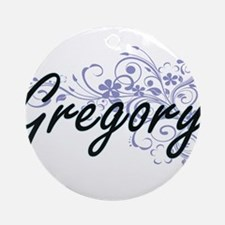 Gregory surname artistic design wit Round Ornament