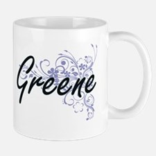Greene surname artistic design with Flowers Mugs