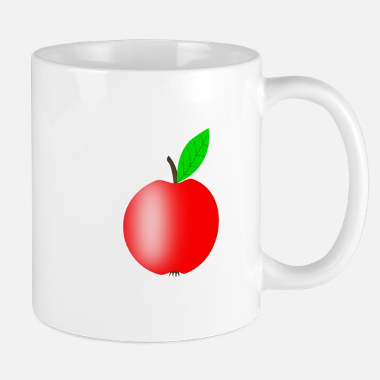 Apple Red with a Green Leaf Mugs