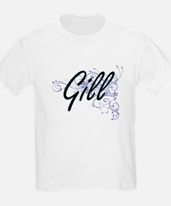 Gill surname artistic design with Flowers T-Shirt