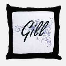 Gill surname artistic design with Flo Throw Pillow