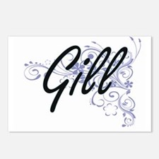 Gill surname artistic des Postcards (Package of 8)