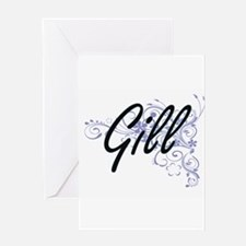 Gill surname artistic design with F Greeting Cards