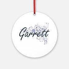 Garrett surname artistic design wit Round Ornament